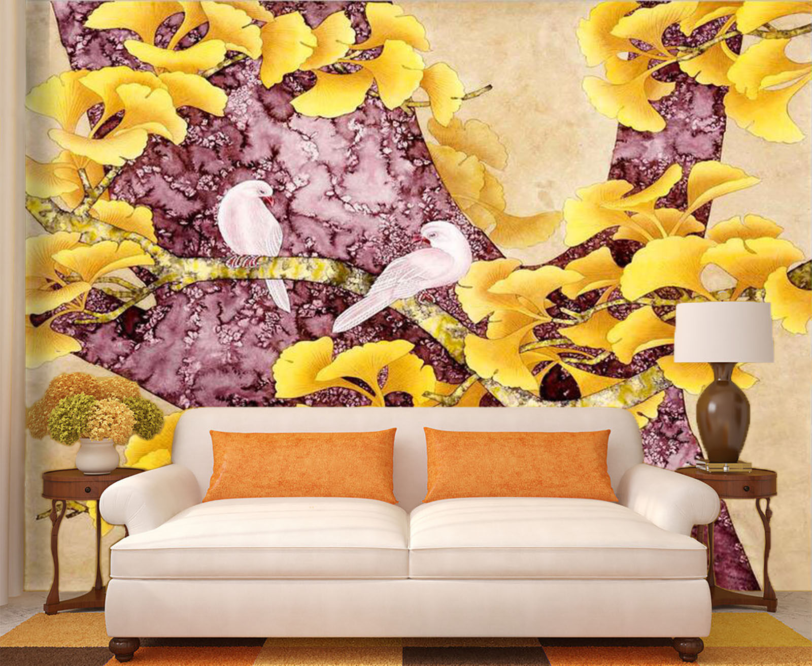 3D Gelb Flower Tree 8722 Wall Paper Wall Print Decal Wall Deco Indoor Wall
