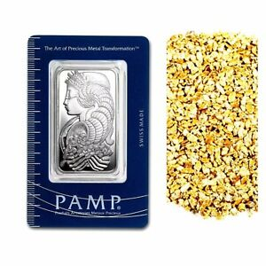1-OZ-999-SILVER-PAMP-SUISSE-LADY-FORTUNA-10-PIECE-ALASKAN-PURE-GOLD-NUGGETS
