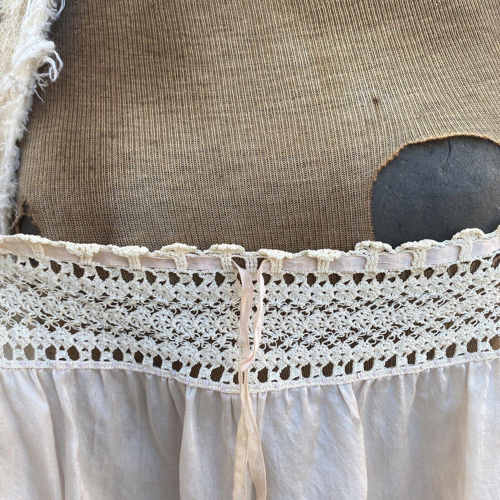 Antique Edwardian Pink Silk Blouse Corset Cover R… - image 11