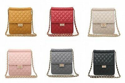 New Women Shoulder Quilted Handbag Chain Ladies Faux Leather Cross Body Bag Gift