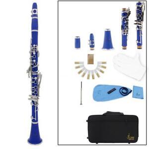 Brand-New-Professional-Bb-Soprano-Clarinet-17-Keys-Nickel-Plated-gift-Blue-J0L2