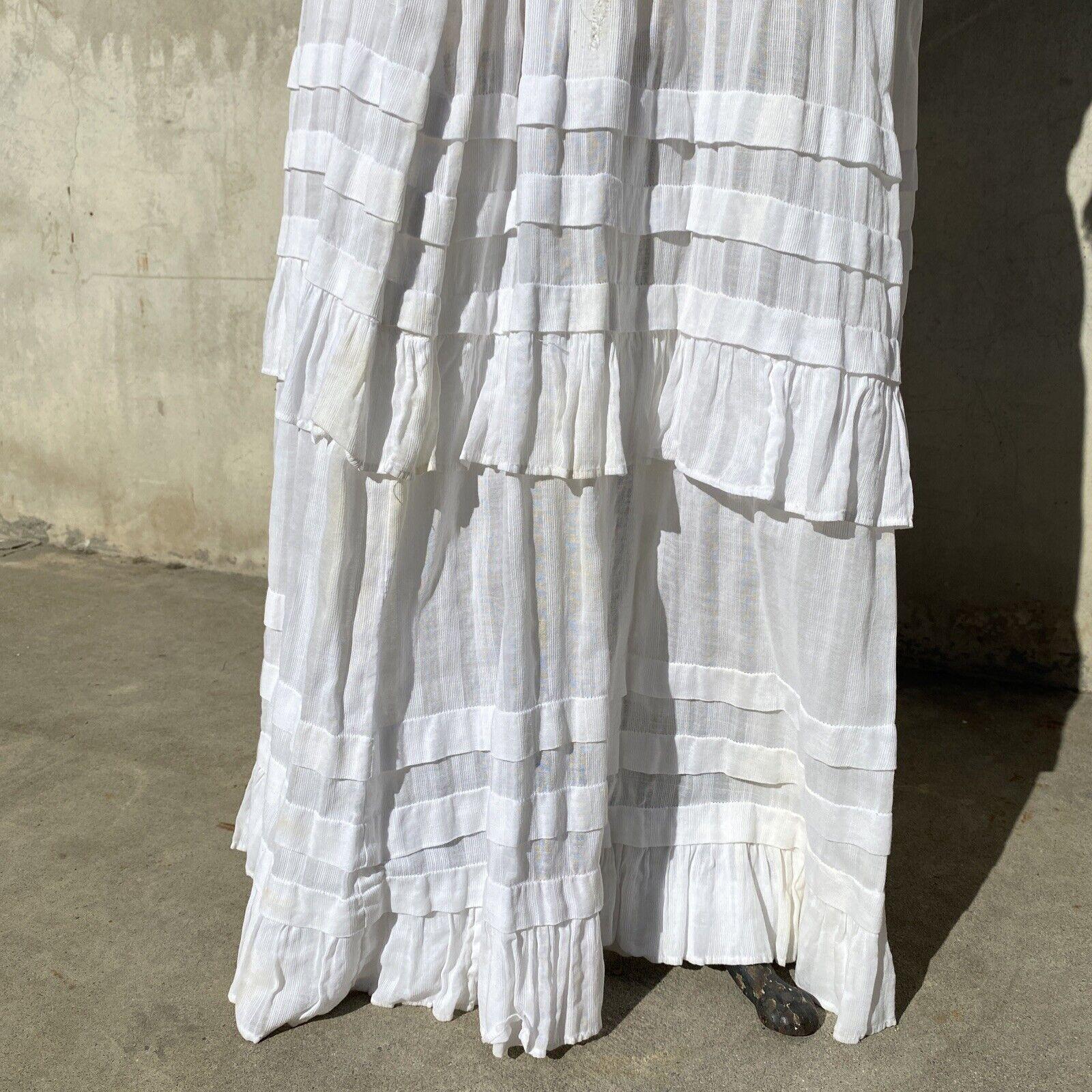 Antique Edwardian White Cotton Tea Dress Maxi Lac… - image 12
