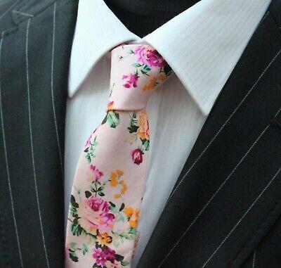 Inteligente Tie Cravatta Sottile Polveroso Rosa Con Qualità Rosa Floreale Cotone T6038-mostra Il Titolo Originale