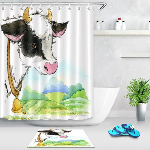 Home Bathroom Set Waterproof Fabric Shower Curtain Hooks Watercolor Cow Farm
