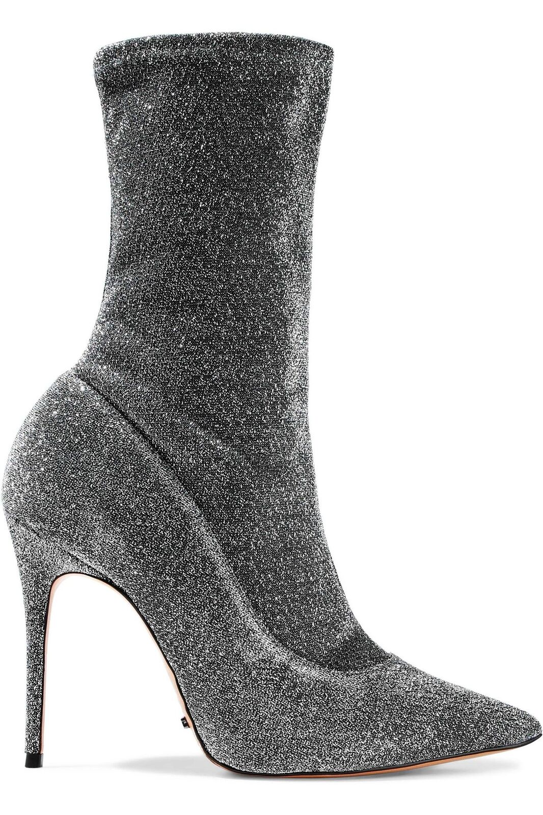 SCHUTZ Women's Mislane Metallic Pointed Toe Sock Boot Fitted Black Silver