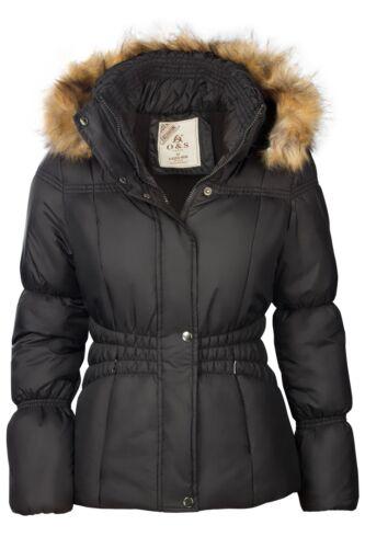 Femmes veste d/'hiver court MATELASSE DUVET ASPECT FAUX Fourrure capuche veste ski chaud manteau