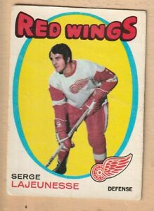 HOCKEY-CARD-NHL-1971-72-SERGE-LAJEUNESSE-DETROIT-RED-WINGS-OPC-136