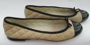 Office-size-4-37-nude-quilted-leather-ballet-pump-flats-with-black-trims