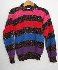 Vintage 80s Acrylic Knit Sweater Retro Textured Hipster Striped Small