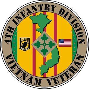"4th Infantry Division Vietnam Veteran 5.5"" Sticker 'Officially Licensed'"