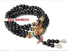 "108 Black Agate and Tiger Eye Beads Prayer Bracelet 31"""