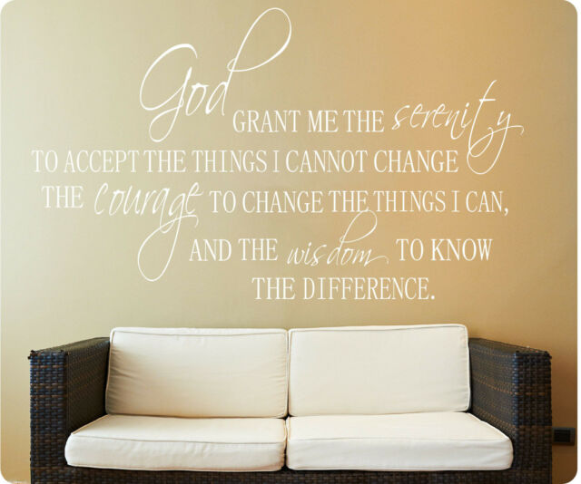 Serenity Prayer God Grant Me Accept Wisdom Wall Decal Sticker Quote SIZES COLORS