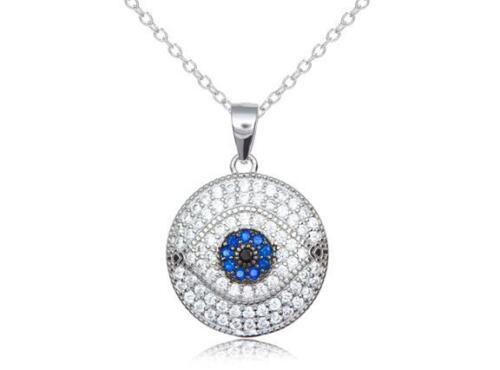 Platinum Sterling Silver Blue /& White Sapphire Evil Eye Pave Halo Pendant Gift