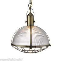 Searchlight Industrial 1 Light Traditional Ceiling Pendant Antique Brass 7601ab