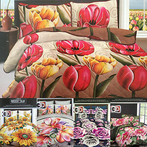 3D-Effect-Bedding-Set-Duvet-Cover-Fitted-Sheet-Floral-Printed-4Pc-Complete-Set