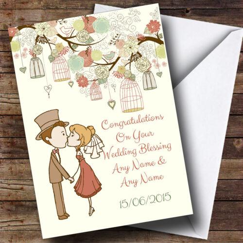 Vintage Birdcage mignon couple personnalisé bénédiction nuptiale Carte de vœux