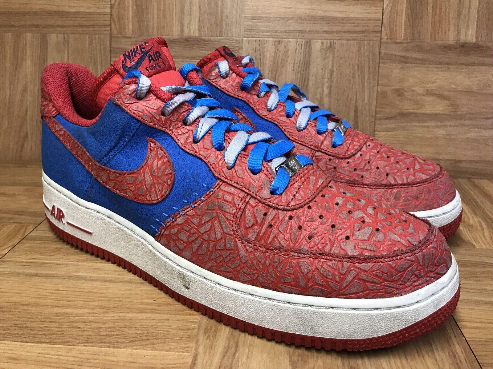 RARE Nike Air Force One 1 Low Photo bluee Hyper Red SPlDERMAN Sz 12 488298-412