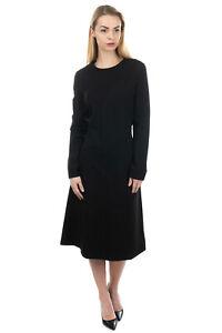 RRP-655-JIL-SANDER-Midi-A-Line-Dress-Size-40-L-Black-Stretch-Made-in-Italy