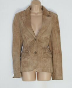 Women-039-s-Vintage-H-amp-M-Fitted-Beige-100-Leather-Suede-Blazer-Jacket-Coat-Size-UK12