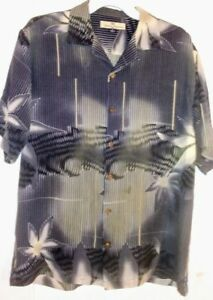 10b82c1b sz S TOMMY BAHAMA SILK HAWAIIAN SHIRT ABSTRACT JUNGLE PRINT | eBay