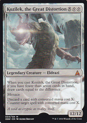 1x KOZILEK, THE GREAT DISTORTION MTG OATH OF THE GATEWATCH Mythic ERROR MISPRINT