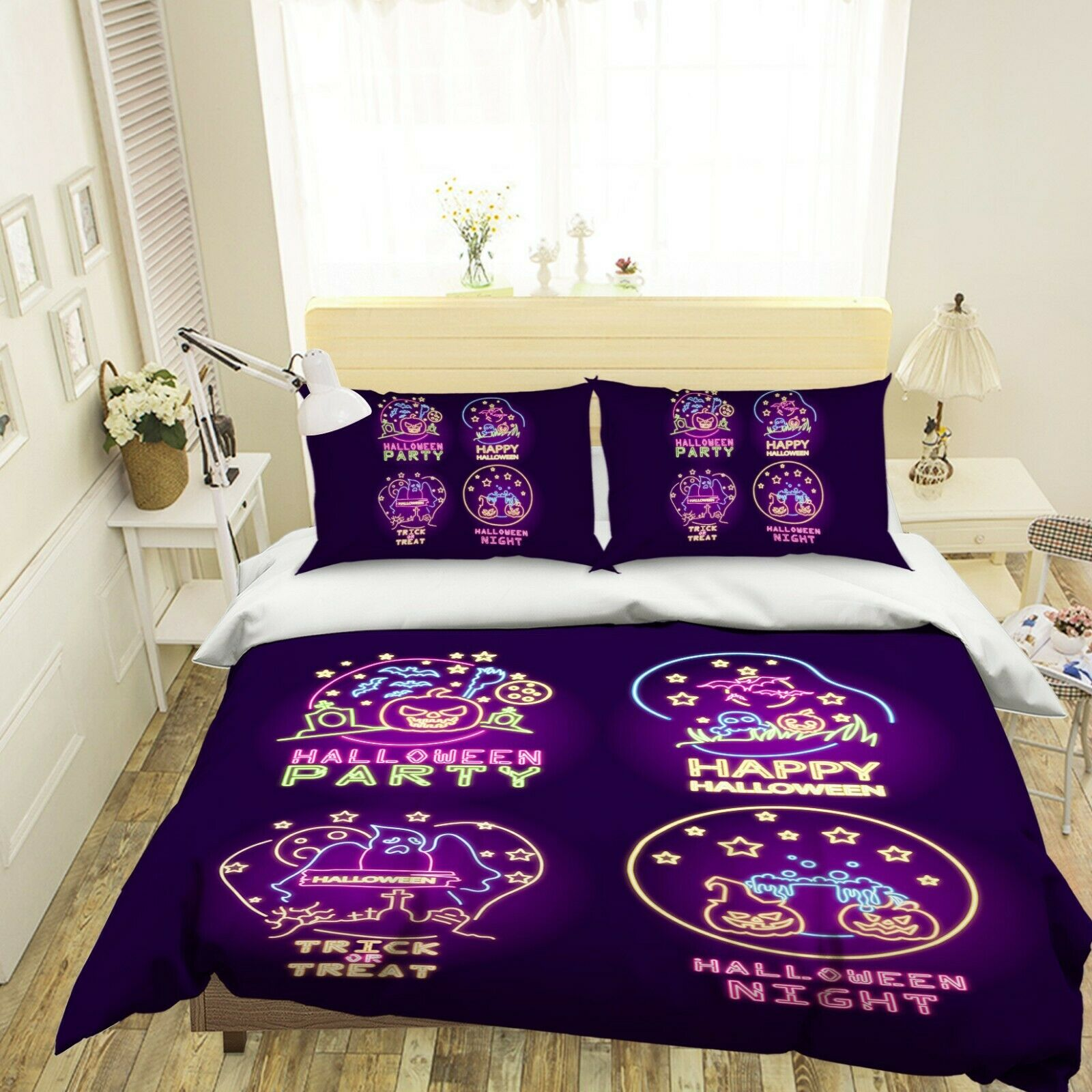 3D lila Night Happy G120 Halloween Bed Pillowcases Duvet Cover Quilt Amy