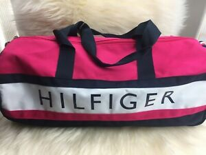 Details About New Nwt Tommy Hilfiger Women Pink Canvas Gym Duffel Duffle Bag