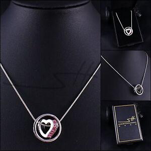 Geschenk-Halskette-Kette-Herz-im-Kreis-Weissgold-pl-Swarovski-Elements-Etui