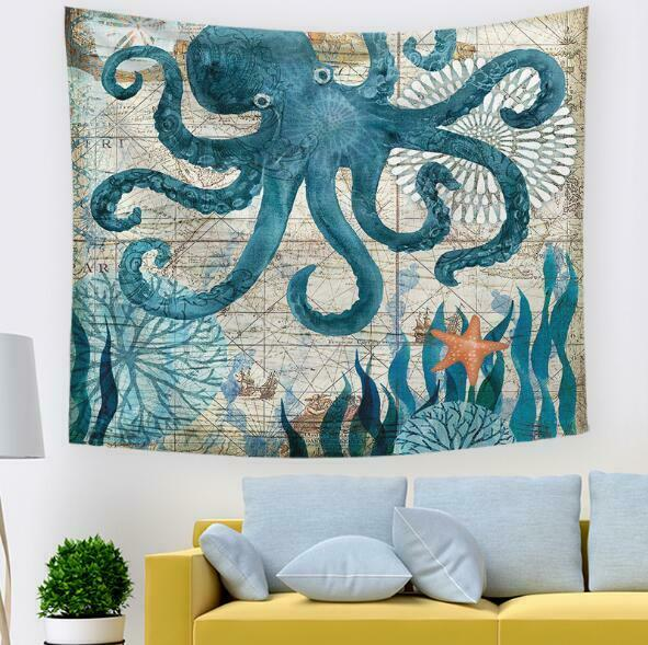 3D Octopus Starfish A43 Tapestry Hanging Cloth Hang Wallpaper Mural Photo Zoe