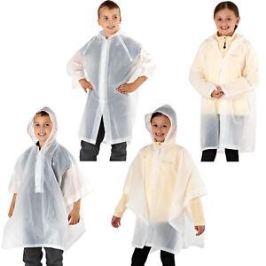 Enfants-Junior-Unisexe-Biodegradable-Veste-Impermeable-Poncho-Capuche-Pluie-Protection-Housse