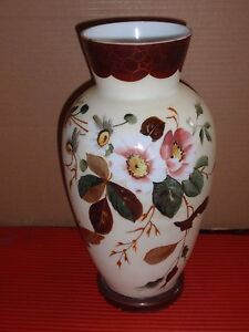 Hand Painted Milk Gl Vase Fl