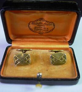Art Deco Manschettenknöpfe -  14 Karat Gold in org. Schatulle