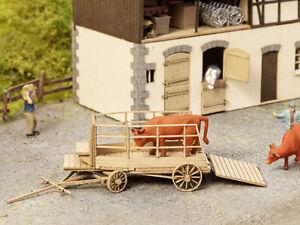 Noch Laser Cut Minis Cattle Transport Cart 14245 HO Scale (suit OO also)