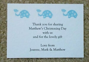 christening thank you cards small a7 size with envelopes blue or