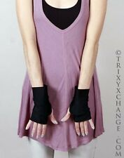 Short Black Fingerless Costume Gloves Gothic Wedding Cosplay Dominatrix Diy 1006
