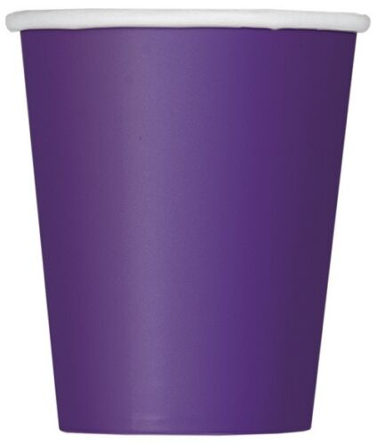 New Paper Party 9oz CUPS x14 Plain Solid Colours Tableware Events Catering CUP