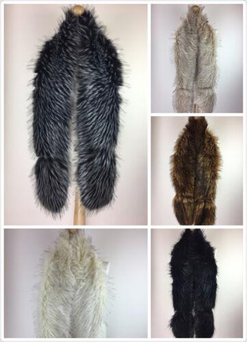 UK Ladies Women Winter Female Long Faux Fur Collar  neck Warmer shawl wrap stole