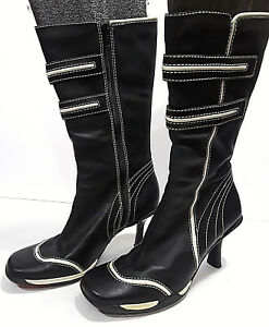 classic styles cheap price wide varieties Details about SKECHERS Black & White Leather Boots Womens 8 38EU Knee High  Heels SN 35622 F-60