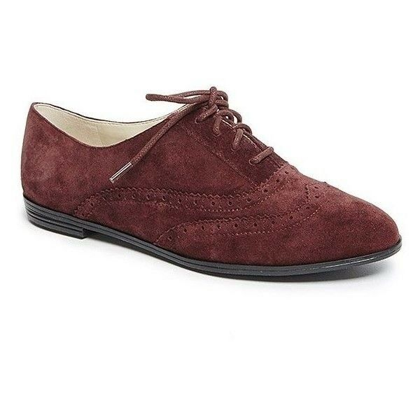 Isaac Mizrahi 'Fiona' Dark Red Wine Suede Lace Up Wingtip Oxford Flats 6.5M
