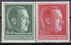Nazi-Germany-3rd-Reich-2-Rare-Hitler-Stamps-Superb-MNH