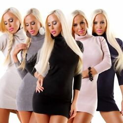 4349 Softer Damen Feinstrick Rollkragen Pullover Langarm Longpullover Minikleid