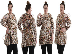 Women-Plus-Size-Top-Ladies-Leopard-Animal-Print-Tunic-Swing-Skater-Style