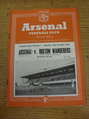 14111953 Arsenal v Bolton Wanderers Neat Match Details Noted On CoverInside