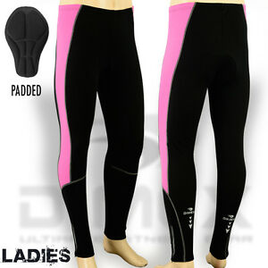 Ladies-Cycling-Tights-Winter-Thermel-Long-Pant-Cycle-Legging-Trouser-Padded-Pink