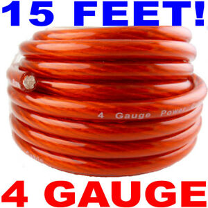 15 FT feet 4 GAUGE RED POWER WIRE CABLE BEST QUALITY! | eBay