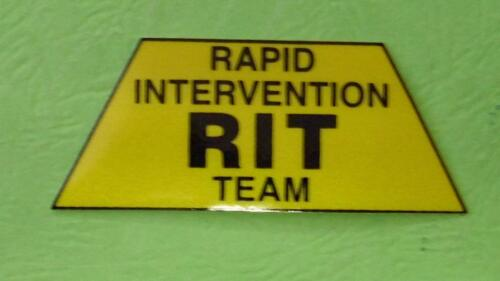 RAPID INTERVENTION TEAM YELLOW REFLECTIVEDECAL STICKER RIT