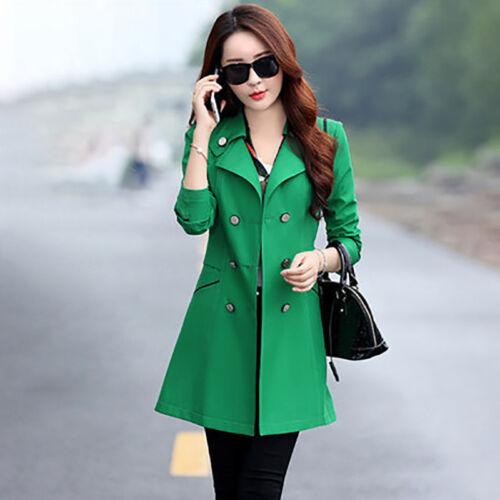 Women Double Breasted Windbreaker Long Slim Trench Coat Jacket Overcoat Outwear