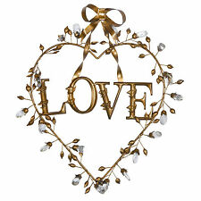 Antique Gold Vintage Heart Wall Hanging Metal LOVE Artwork Sign Plaque