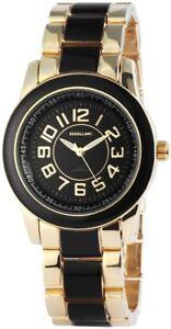 Excellanc-Damenuhr-Schwarz-Gold-Analog-Metall-Quarz-Armbanduhr-X150901000012