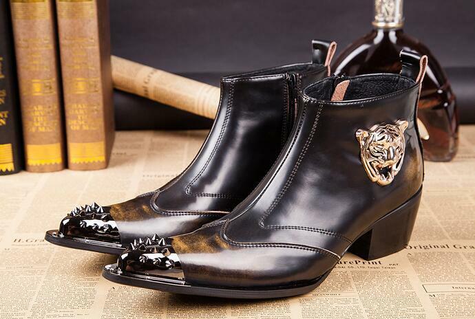 Zapatos de vestir para Hombre botas al Tobillo Puntera puntiaguda de metal estilo Cowboy de moda militar occidental
